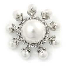Rhodium Plated White Glass Pearl, Crystal Sunflower Brooch - 45mm Across