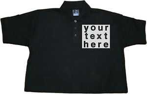 Personalised embroidered 100% cotton black polo shirt size M(40-42), L(42-44)