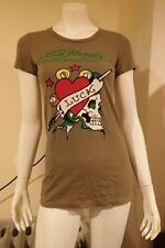 NWT Ed Hardy Women's XS Short Sleeve Olive Cotton Luck T-Shirt FREE GIFT LOOK!!