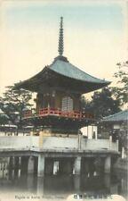Amida Temple C-1910 Japan Pagoda Osaka hand colored postcard 3357