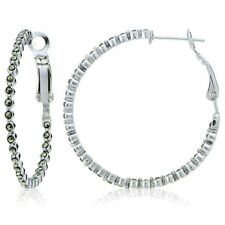 Sterling Silver Marcasite Inside Out Clutchless 35mm Hoop Earrings