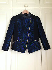 TED BAKER blue black paisley jacquard biker zip jacket coat baroque asos 1 8 NWT