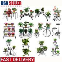 Metal Flower Pot Rack Plant Display Stand Shelf Wrought Iron Holder Garden Decor
