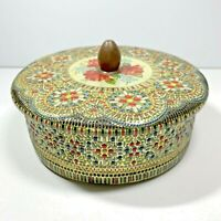 """Vintage Tin Container Made In Holland Floral Design Embossed 6"""" Round Mosaic"""