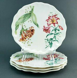 "Lenox Butterfly Meadow Melamine Salad Plates 9"" Flowers Set of 4"