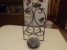 "Dark Gray Metal Sconce Hurricane Candle Holder Wall Decor 14"" High 8"" W & 4""D"