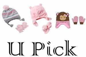 Hat Mittens Set Winter Warm Beanie Toddlers Children Baby Kids GIRLS Cap