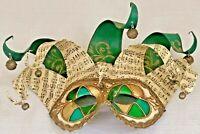 Mardi Gras Masquerade Mask New Orleans Music Notes & Jingle Ball Green Gold