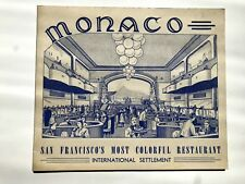 1940s Monaco Restaurant San Francisco Souvenir Photo Holder & Photo