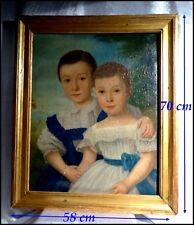 """Portrait d'Enfants """"Frère & Soeur"""" école française XIXe vers 1850 Huile Encadrée"""