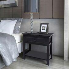 vidaXL 2x Bedside Cabinets Wood Black Bedroom Nightstand Table Unit Furniture