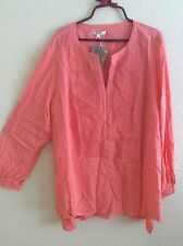 SPENSE Woman Peasant Top Blouse Tunic Shirt Boho Coral Crochet Plus Size 2X #A46