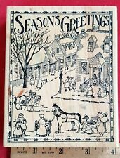Delafield Q002 Seasons Greetings Snow Horse Village Winter Scene Rubber Stamp