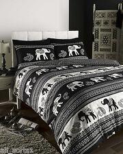 SINGLE BED DUVET COVER SET EMPIRE ELEPHANT BLACK CREAM STRIPE NATURAL ANIMAL