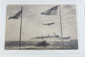 CUNARD WHITE STAR LINE RMS QUEEN MARY ORIGINAL POSTCARD AIRSHIP WW2 WAR SERVICE