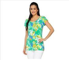 Isaac Mizrahi Live! Floral Print Knit T-shirt A260884 Palm Green Medium