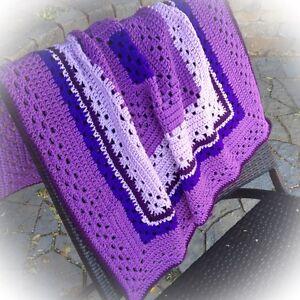 New Handmade Crochet Granny Square Baby Blanket in Purples
