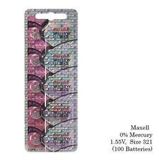 Maxell Hologram SR616SW 321 SR616 Silver Oxide Watch Batteries (100 Batteries)