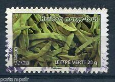 FRANCE 2012, TP AUTOADHESIF lettre verte, FLORE, LEGUMES, HARICOTS MAN, oblitéré