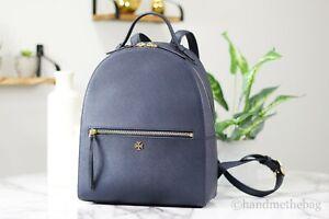 Tory Burch (55487) Emerson Navy Blue Saffiano Leather Medium Backpack Bag