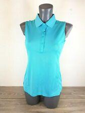 AUR Polo Shirt Ladies Sleeveless T Shirt Pique Aqua Blue Size Small A153