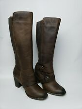 Born Womens Cresent Brown Leather Riding Boots Shoes 8.5 Medium (M) F32416