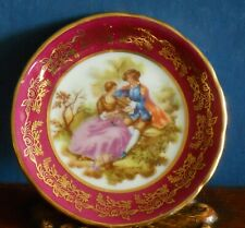 A Meissner Limoges Miniature Fragonard Lovers Dish in red