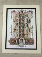 1910 Queens of England British Royal Family Antique Chromolithograph Print