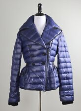 BURBERRY Prorsum $1590 Quilted Puffer Leather Trim Goose Down Jacket Top Size 44