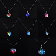 Pop Gift Stars Starry Sky Double-sided Glass Galaxy Pattern Necklace Pendant