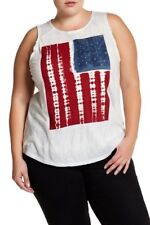 NWT Lucky Brand American Flag Scoop Neck Plus Size Sleeveless Top Size 2X