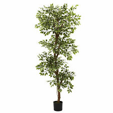 Variegated Ficus Tree Artificial Realistic Nearly Natural 6' Home Garden Decor