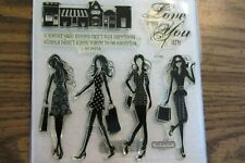 Close To My Heart Acrylix Stamp Fashionista D1504 Shopping Girlfriends Fashion