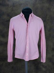 RAPHA Mens Gingham Check Long Sleeve Cycling Shirt Pink White Size Medium
