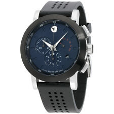 Movado Museum Blue Dial Black Silicone Strap Men's Watch 0607003