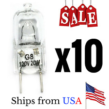 Halogen Light Bulb G8 Base Bi-Pin JCD Type 110-130 Volt 20 Watt Pack of 10 Bulbs