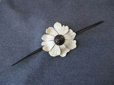 Vintage flapper celluloid creamy & brown flower applique jewelry millinery #11