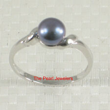 Fine Jewelry 9.5mm Genuine Silver Tone Tahitian Pearl 14k White Solid Gold Solitaire Ring TPJ