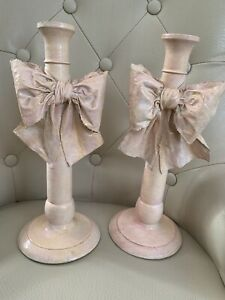 Vintage Pair Of Bow Candle Sticks Pretty Pink Painted Wash