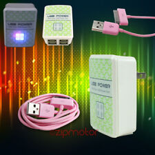 50X 4 USB PORT HUB AC WALL ADAPTER+6FT CABLE POWER CHARGER SYNC PINK GALAXY TAB