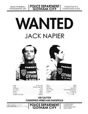 1989 Batman Jack Napier Wanted Poster > Joker > Jack Nicholson > Poster/Print