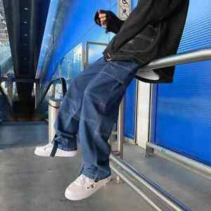Hommes Jeans Large Jambe Pantalon Denim Droite Ample Baggy Jeans streetwear