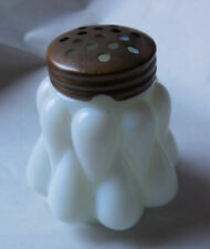 Antique EAPG Quilted Salt or Pepper Milk Glass Shaker Muffineer