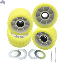 """Boat Trailer Amber/Yellow Poly Ribbed Wobble Roller Kit 5""""/Ribbed"""