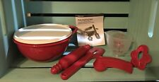 Tupperware Kids Baking Set Rolling Pin Bowl Measuring Cup w/  Spoons RED NEW