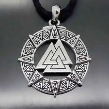 Men Valknut Odin 's Symbol of Norse Viking Warriors Pewter Pendant Free Necklace