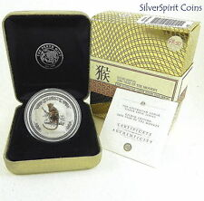 2004 YEAR OF THE MONKEY GILDED LUNAR Series Silver 1oz Coin in Gold Box