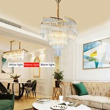 Modern Chandelier Crystal  Pendant Light Fixtures Dining Room 3-Color LED w/Bulb