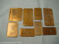 8 x EZ alte Merkenthaler Monogramme, Kupfer Schablonen, Stencils, Patrons broder
