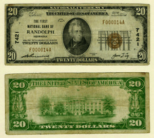 Randolph NE $20 1929 T-1 National Bank Note Ch #7421 First NB VG/F